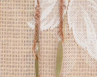 Pressed Leaf Jewelry - Green Sage Pressed Leaf Earrings with Copper Noodle Beads