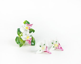 Bone China SET, Earring Floral Brooch Orchid Jewelry,  Floral Made in England, Vintage Pink Flowers