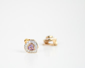 Heart Earrings Amethyst, CZ Cubic Zirconia, Sterling Silver Jewelry, 925 Vintage Gold Tone, Small Bridal Gift, Clip On