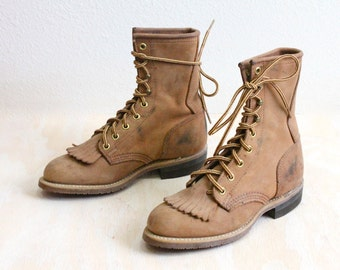 Vintage Rustic Wheat Leather Boots Sz 5.5