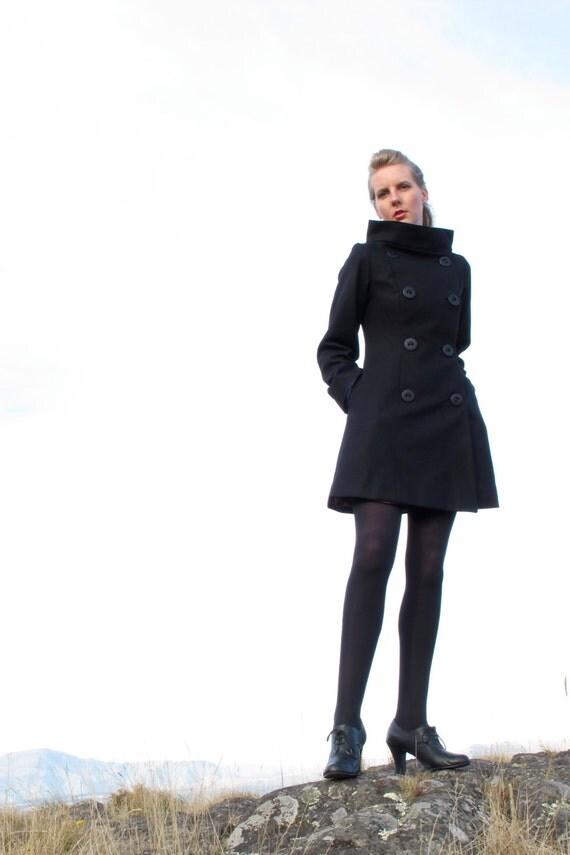 Flared Coat - Long Wool Winter Fashion Jacket - Black - FREE SHIPPING