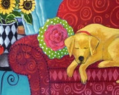 Yellow Dog on Red Couch 12.5x4.5 - Fine Art Giclee Print