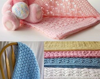 Baby Blanket Crochet Afghan Shell Pattern Free Gift Plush Baby Toy Ball Soft Warm Pink Blue Green Yellow White