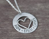 Personalized Heart Necklace with Names - Custom Heart Jewelry - Sterling Silver Heart Mommy Necklace