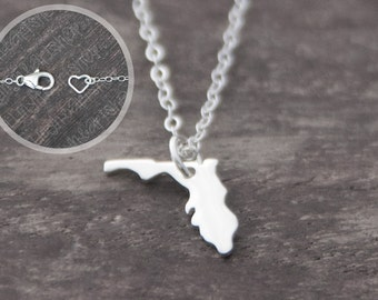 Florida Necklace - Tiny Sterling Silver Florida State Jewelry