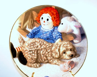 """1990 Jim Lamb Puppy Playtime """"Fun and Games"""" Collector Plate"""