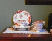 5 Sets Vintage Shelley Sheraton Snack Tray Set Pink Rose Porcelain 5289 fine bone china england