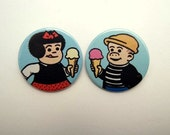 Nancy and Sluggo  - button badge or magnet set 1.5 Inch