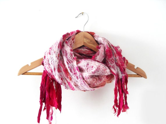 Nuno Felted Scarf Wool Silk Woman Scarves - ideal gift for her ready to ship