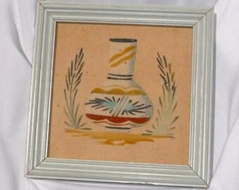 Vintage Souvenir Sand Art Picture Indian Pot