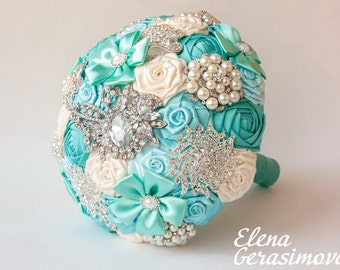 Brooch Bouquet. Ivory mint blue Fabric Bouquet, Unique Wedding Bridal Bouquet