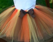 Autumn Tutu with Bow - Thanksgiving Tutu - Orange, Brown and Gold- Tutu Skirt - Tutu with Detachable Bow - Stretch Waist Tutu