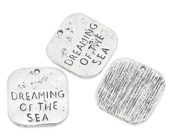 8 Silver Dreaming of the Sea Stamped Tag Pendants - 19x20mm  - Ships IMMEDIATELY - SC1071