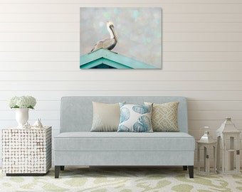 Coastal Canvas, Large Bird Photography, Pelican Wall Art, Beach House Decor, Gray and Mint Art, Seaside Picture