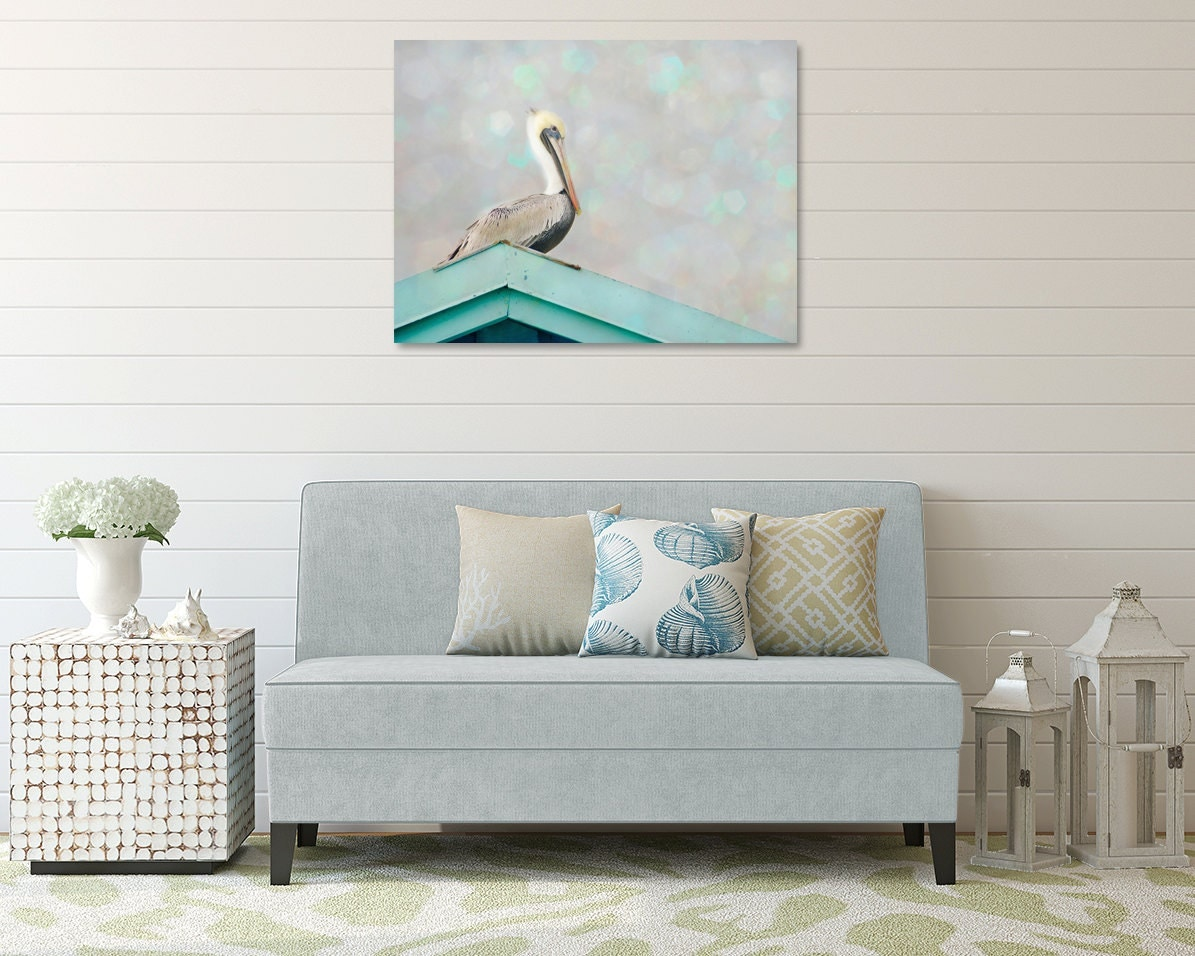 Coastal Wall Decor: Coastal Canvas Large Bird Photography Pelican Wall Art