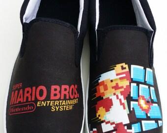 Custom NES Super Mario Bros Canvas Shoes