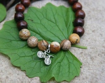 Yogi inspired wood bead bracelet with small bicycle charm and natural picture jasper beads for men or women
