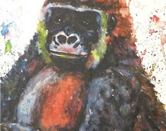 Gorilla, Baby Girl,Toddler, Boy, Child, Nursery Decor - Original Fine Art  Watercolor Painting by ebsq Artist Ricky Martin FREE SHIPPING