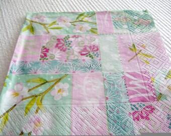 Floral decoupage napkins, decoupage napkins, Paper Napkins, Decoupage, paper, napkins, mint napkins, Scrapbooking, spring, pale, 2 pcs