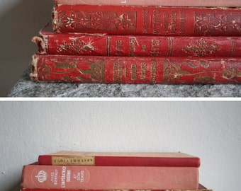 MY RED Books // Vintage french book // Engraved covers.