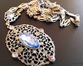 "Art Deco Pendant Necklace Blue & Pink Rhinestones Silver Filigree Metal Long 29"" Vintage"