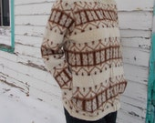 vintage wool sweater jacket creamy white and brown alpine native pattern - 70s/80s
