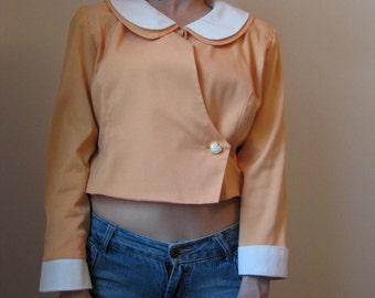 vintage sweet heart button peach silky jacket with peter pan collar - 80s
