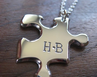 Personalised Silver Jigsaw Puzzle with Two Initials Pendant Necklace