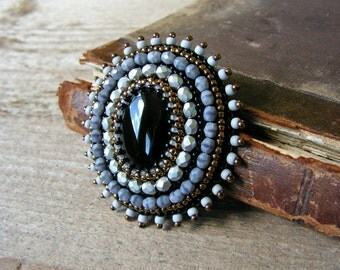 Embroidery Brooch Bead embroidered Brooch Beadwork Brooch Black Silver Grey Brooch Black Onyx Brooch Black Silver Jewelry MADE TO ORDER