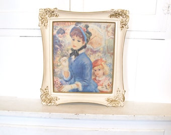 Vintage john strevens ivory French woman and girl impressionist art print with frame 15 x 17