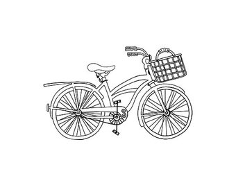 Beach Cruiser Bicycle Outline- JPEG - PNG - Digital Stamp - Digital Clipart - Hand drawn - Limited Commercial Use