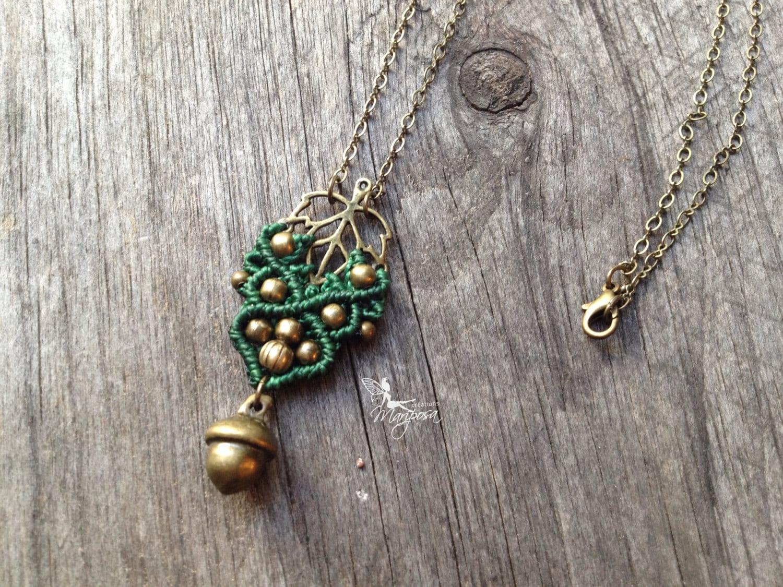 macrame boho elven necklace jewelry micro macrame leaf pendant