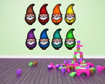 Gnome multicolor decals - Fabric adhesive decals- Large Size