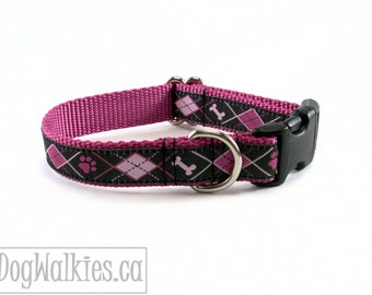 """Rose & Black Bone and Paw Argyle Dog Collar / 3/4"""" (19mm) Wide / Martingale or Quick Release / Choice of size and style"""