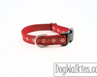 "Red Snowflakes Christmas Dog Collar - 3/4"" Wide - Choice of collar style and size - Martingale Dog Collars or Quick Release Buckle"
