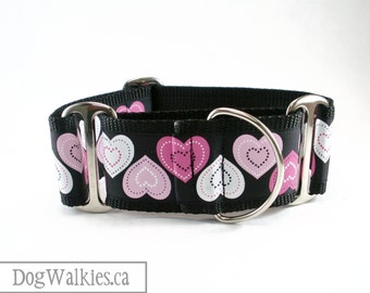"""Big Puppy Love Dog Collar - 2"""" (50mm) Wide - Extra Wide Martingale or Side Release  Buckle"""