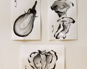 ink art, Japanese art, Vegetable art, 3 peace, Autumn vegetables, ink drawing, ink painting, Still life paintings, mini art, mini drawing
