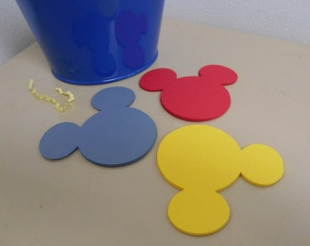 24 Mickey Mouse Heads - 3 inch - Cardstock Die Cuts for Scrapbooking, Cupcake Toppers, Tags