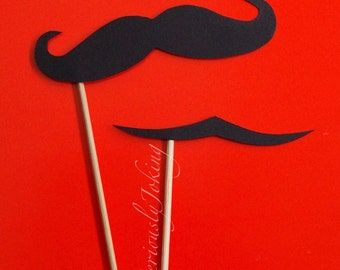 Mustaches on a Stick set-mustache on a stick-Little man party-photo props-mustache party-The Clark Gable and Handlebar styles-photo booth-