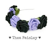 Pastel Goth Rose Flower crown: Classic Lavender Pastel Flower Halo, pastel grunge, indie, kawaii, pastel, pale, hipster flower crown,