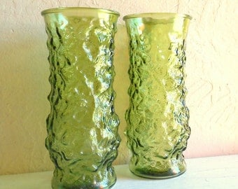 SALE Pair of Matching Emerald Green Glass Vases Big Medium Size