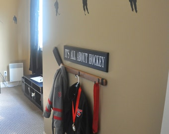 It's All About Hockey wood sign sports decor, boys rooms, hockey theme