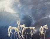 """Small, Original Acrylic on Panel, Galaxy horses """"Milky Horses"""" 16""""x12"""""""