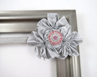 Grey and Pink Headband - Gray and Pink Headband - Flower Cluster Headband - Grey Gray Headband - Pink Headband - Baby Toddler Teen Headband