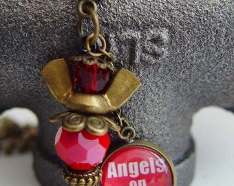 Human Angel 9/11 Tribute Necklace, Red & Antique Bronze Wing Nut, Angels on Duty...Never Forget
