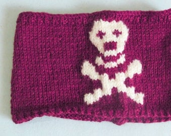 Hand Knit Skull Headband Plum & White Ear Warmer by EmofoFashion and NEW Colors too. Women Headband, Hair cover