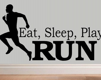 wall decal kids Eat sleep play Run decal kids decor nursery decal sport decal running decal home decor marathon 5k wall decal living room