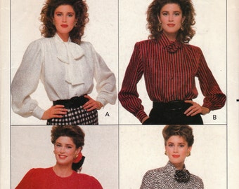 80s Long Sleeved Blouse Pattern Butterick 6665 Sizes 6 8 10 Uncut