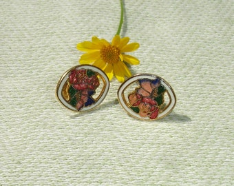 Genuine Cloisonne Gold Filled Post Earrings