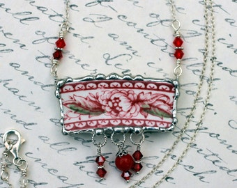 Broken China Jewelry, Pendant Necklace, Red Transferware, Sterling Silver Chain